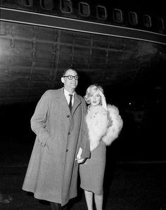 Marilyn and Arthur Miller leave New York for Los Angeles to film Let's Make Love, 2 November 1959.