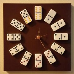 Domino lovers clock features third hand. Makes a great Father's Day Gift!