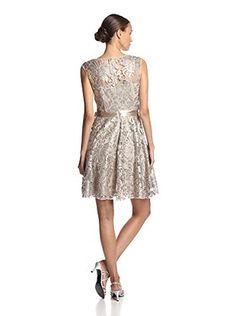 JS Boutique Women's Lace Overlay Short Dress (Stone)