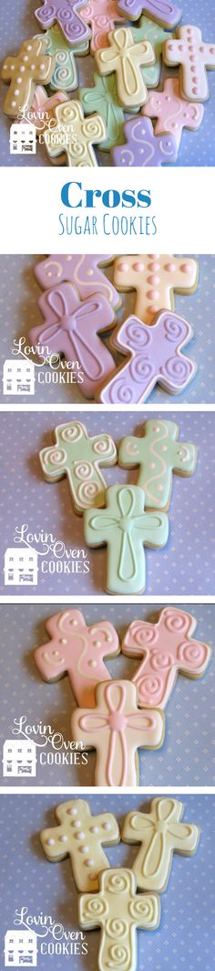 Cross Decorated Sugar Cookies for Baptism, Christening, First Communion, Confirmation, Easter #affiliate