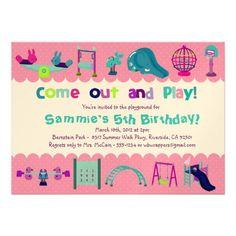 PINK - PLAYGROUND  - Birthday Party Invitations