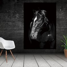 Unframed Wall Decor Beauty of Horse-Portrait Multiple Sizes Acrylic Painting Canvas, Artist Canvas, Canvas Wall Art, Horse Pictures, Art Pictures, Horse Wall Art, Equestrian Decor, Black And White Posters, Horse Portrait