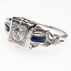 Vintage Diamond & Blue Sapphire Engagement Ring Solid Platinum Filigree