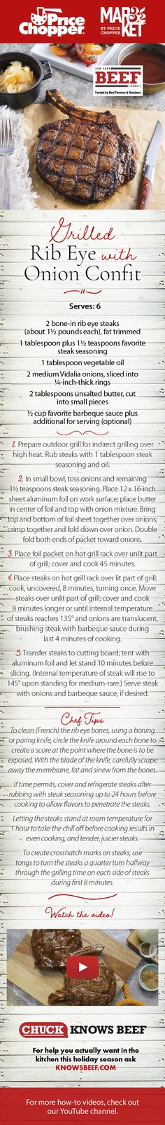 Recipe and how-to video! Price Chopper, Ribs On Grill, Onion, Grilling, Beef, Magazine, Recipes, Food, Meal