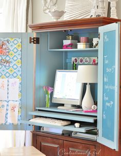 computer armoire makeover--good tip on how to clean up oil based paint and primer using vegetable oil! Office Furniture Design, Furniture Layout, Furniture Arrangement, Armoire Makeover, Furniture Makeover, Diy Furniture, Armoire Redo, Tv Armoire, Furniture Projects