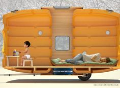 Microcasa portátil é feita de tanques de água e pode ser puxada por uma bicicleta