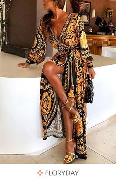 Print Lange Ärmel A-Linie Maxi Lässig / Boho / Urlaub Kleider – Products – … - Sommer Kleider Ideen Elegant Dresses, Casual Dresses, Fashion Dresses, Maxi Dresses, Long Dresses, Simple Dresses, Party Dresses, Beautiful Dresses, Evening Dresses
