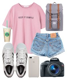 """""""Keep it simple✌"""" by jadenriley21 on Polyvore featuring MANGO, Levi's, Eos and adidas"""