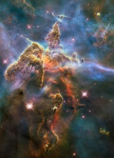 Hubble View of Carina Nebula - NASA's Hubble Space Telescope captured this view of a stellar nursery called the Carina Nebula, which lies 7,500 light-years from Earth, on Feb. 1-2, 2010. [Hubble Telescope Spies Majestic Space Mountains]