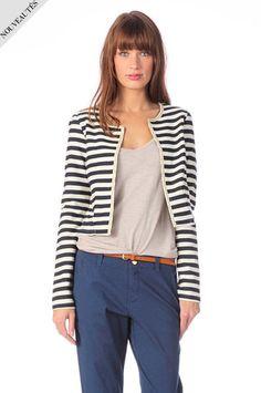 Veste rayures Rienne Vero Moda Blanc / Bleu marine prix promo Monshowroom 39,00 € TTC