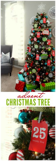 I love so much about this Advent Christmas Tree---even the paper snowflakes on the wall behind it!