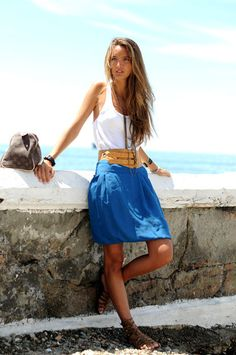 bright blue skirt