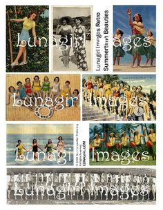 vintage girls retro 1950s beach pictures kitsch postcards hula bathing beauties digital collage sheet download