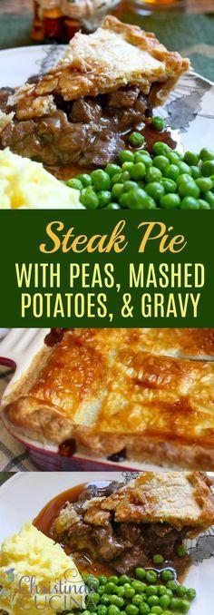 Steak Pie with Peas, Mashed Potatoes, & Gravy