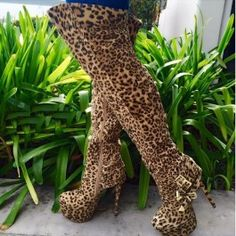 Leopard Strappy Thigh High Boots Faux Suede $25.79