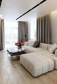 The living room is more elegant with the curtain inside the built-in and illuminated closet . Home Design Decor, Modern House Design, Home Interior Design, Living Room Home Theater, Living Room Decor, Curtain Room, Curtains, Lounge Seating, Curtain Designs