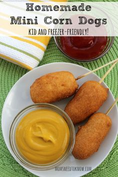 These homemade corn dogs are so easy to make, They are freezer friendly and you can make this easy corn dogs recipe with the kids! Make a big batch!
