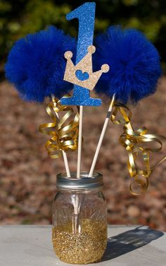 Princess Party Decorations Navy Blue and Gold Centerpiece image 1 Prince Birthday Theme, Baby Boy 1st Birthday, Mickey Birthday, 1st Birthday Parties, Princess Party Decorations, Birthday Party Centerpieces, Birthday Decorations, Princess Centerpieces, Festa Mickey Baby
