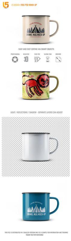 Enamel Mug / Free Psd Mock-up Light Reflection, Psd Templates, Portfolio Design, Mockup, Free Design, Enamel, Photoshop, Graphic Design, Packaging