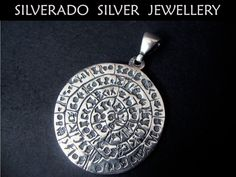 Sterling Silver 925 Ancient Phaistos Disc Pendant 36 mm