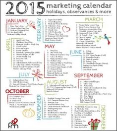 Plan Next Year's Content Using this 2015 Marketing Calendar - Brands With Fans Blog
