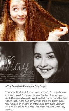 May Singer 'The Selection Series' my second fav character from 'The Selection Series'