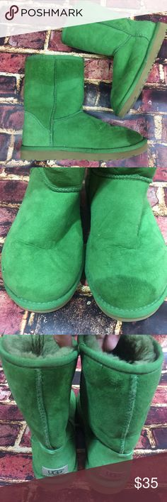 Ugg classic short pull on suede boots rare green Super cute classic green Uggs! Sold as is, there are two large dark spots, please see photos for details. Women's size 6. UGG Shoes Winter & Rain Boots