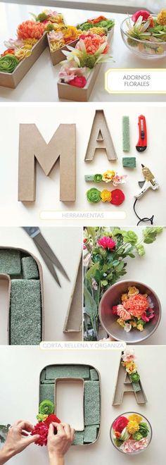 hacer letras con relieve con flores