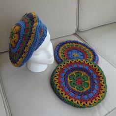 Single Crochet Decrease, Half Double Crochet, Crochet Beret Pattern, Crochet Patterns, Mandala Au Crochet, Crochet Fall, Flower Hats, Paintbox Yarn, Knit Picks