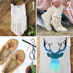 Free modern crochet patterns from Make and Do Crew. Afghans, slippers, boots and a crochet purse!