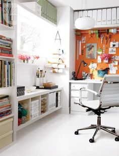 12 inspiring art studios & creative spaces for the Organized artist // how to organize your workspace & office // painter, designer, artist // paper & art supplies storage