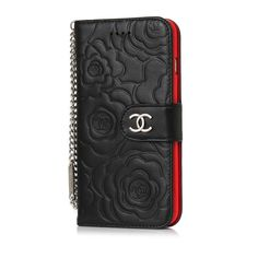94f83d96d2ff Camellia Leather Wallet Case Chanel iPhone8/7/6S/6/Plus Black Red