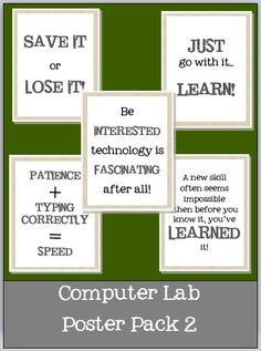 COMPUTER LAB DECOR! This pack contains 5 motivating posters to hang in your classroom! Another Computer Lab Poster Pack--5 Motivating Posters to Hang in Your Classroom b...  http://www.teacherspayteachers.com/Product/Another-Computer-Lab-Poster-Pack-5-Motivating-Posters-to-Hang-in-Your-Classroom-843228