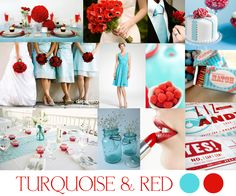 I've always wanted turquoise or some shade of blue in my wedding, I just didn't know what I wanted to pair it with. I'm kinda liking this red though!