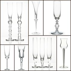 """Champagne flutes rom top left: """"Gaudi"""" by Moser, """"Medusa Lumiere"""" by Versace, """"Ivresse des Bois"""" by Baccarat, """"Champagne"""" by Puiforcat, """"Zero"""" by Moser, """"Cosmos"""" by Saint Louis, """"Facet"""" by Lalique Saint Louis Crystal, Tim Tim, Perfect Glass, Champagne Glasses, Clever Design, St Louis, Porcelain, Pottery, Gaudi"""