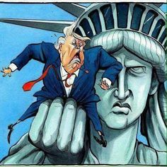 I think if that really happened, the Statue of Liberty coming to life, and grabbing Trump by his own pussy would be absolutely excellent. A taste of his own medicine. Political Satire, Political Cartoons, Funny Politics, Political Views, Religion, Trump Cartoons, Art Plastique, Our Lady, Donald Trump