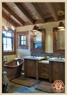 Always wanted a copper tub. Simple and Rustic Bathroom Design for Modern Home : Classic Rustic Barn Bathroom With Double Wooden Vanity Rustic Bathroom Designs, Bathroom Interior Design, Interior Modern, Scandinavian Interior, Interior Ideas, Barn Bathroom, Bathroom Plans, Bathroom Ideas, Modern Bathroom