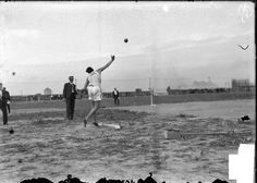 Ralph Rose, University of Michigan athlete, shot-putting on an athletic field in St. Louis, Missouri, during the 1904 Olympic Games. Photograph from the Chicago Daily News. #olympics #sports #1904games #chicagodailynews
