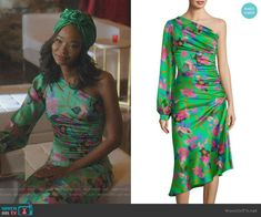 Floral One-Sleeve Ruched Dress by Etro worn by Wakeema Hollis on Dynasty Fashion Tv, Fashion Outfits, Fashion Design, Nice Dresses, Dresses With Sleeves, One Sleeve Dress, Ruched Dress, Sophisticated Style, Costume Design