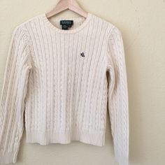 { lowest price } Ralph Lauren monogrammed sweater EUC, 100% cotton, cable knit pullover! With its little monogram, it's the perfect preppy little thing! It's sized a small, but could work for an xs too. It is a bit cropped. I layered over tees or collared shirts. Ralph Lauren Sweaters Crew & Scoop Necks