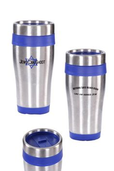 "Carry your beverage in a travel mug that proudly displays the Jews Can Shoot logo and our powerful motto: ""Nothing says Never Again like an Armed Jew"". This stainless steel travel mug has double-wall insulation to keep your cold drinks cold and your hot drinks hot."
