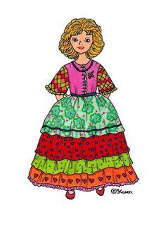Karens Kravlenisser. Cut-outs and Colouring Pages. : Princesses to Print in Colours. Prinsesser til at printe i farver.