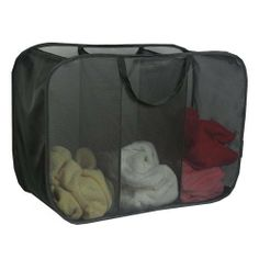 Richards Homewares 3 Compartment Micro Mesh Sorter - Black by Richards Homewares. $9.99. Light weight mesh construction. Three compartments to make laundry a breeze. Oversized handles. Pop Up Design, can be folded down for easy storage. Mesh 3 Compartment Pop Up Hamper