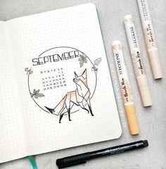 45 Foxy and Sly Fox themed bullet journal ideas 45 Foxy und Sly Fox: Ideen für das Bullet Journal Bullet Journal Inspo, Bullet Journal Cover Page, Bullet Journal 2020, Bullet Journal Aesthetic, Bullet Journal Ideas Pages, Bullet Journal Spread, Bullet Journals, Bullet Journal September Cover, Journal Covers