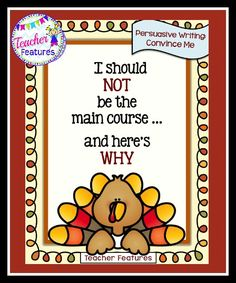 **NO PREP** Want to teach important skills in a fun way? This Thanksgiving Writing packet is perfect for teaching persuasive writing.