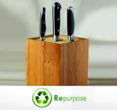 Green Sundays! Repurpose, Reuse and Recycle!  Give your kitchen a touch of creativity! Fill a box with skewers and it will turn into an all-purpose knife block. It is that easy and functional!
