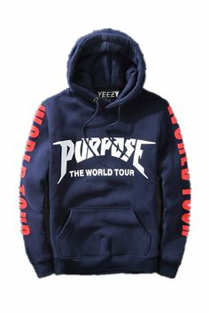 Justin Bieber purpose the world tour plus velvet hooded hedging sweater blue
