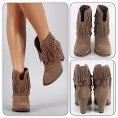 """‼️One Day Sale‼️Fringe Ankle Booties Get your Cowboy booties with the fringe wooden heel ankle booties!features an almond toe/vegan suede upper/split cut front design/faux wooden heel/stitching details and a double layered fringe trimmed shaft/heel height: 3"""" approx/new with box/price is firm/thanks for looking                                                               ❌No Trades❌                                                ❌No PayPal❌ Shoes Ankle Boots & Booties"""