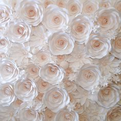 Paper flower backdrop by MoniquePaperArt Diy Backdrop, Paper Flower Backdrop, Backdrop Stand, White Backdrop, Backdrop Wedding, Birthday Party Decorations, Wedding Decorations, Wedding Ideas, Prom Ideas