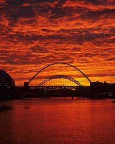 Sunset over the River Tyne, Newcastle, England